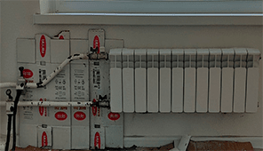 замена батареи с заморозкой труб,изгибом и установкой отсечных кранов